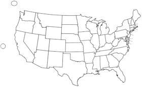 Blank Outline  Map 3 of the USA