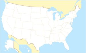 Blank Outline  Map 7 of the USA