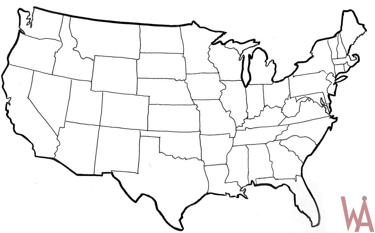 Blank Outline Map of the USA