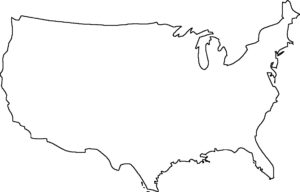Blank Outline  statewise Map of the USA