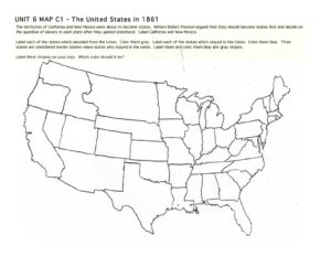 Blank Outline Map of the USA 1861