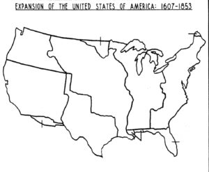 Blank Outline Map of the USA Expansion 1607-1853