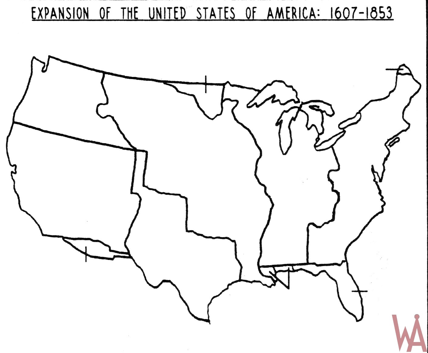 Blank Outline Map Of The Usa Expansion 1607 1853 on 13 Colonies Printable Coloring Pages