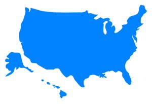 Blank Outline Color Map of the USA