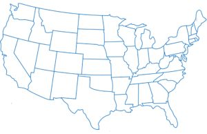 Blank Outline State Wise Map of the United States