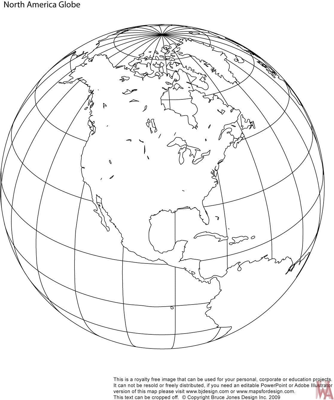 Blank outline globe map of North America | WhatsAnswer