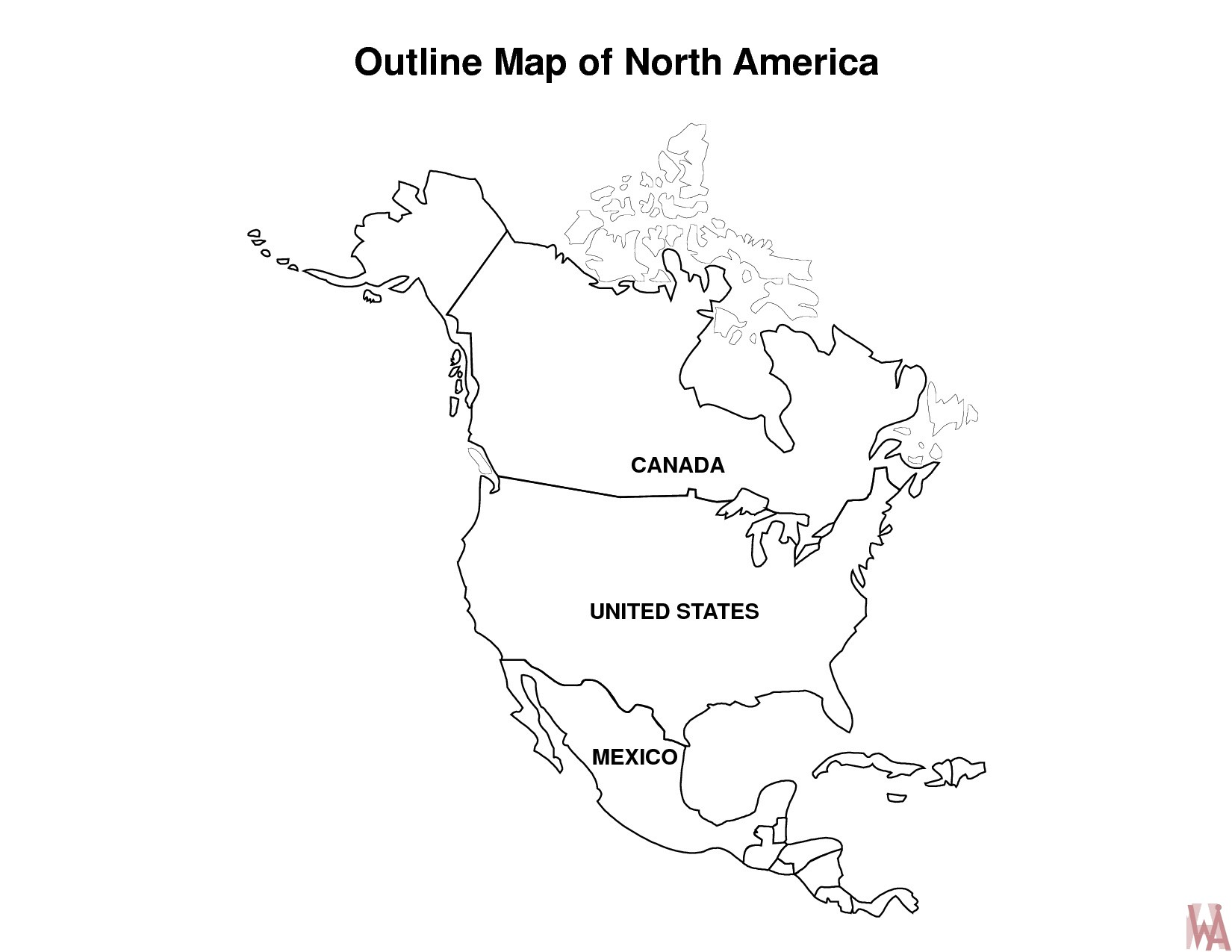 Blank outline map of North America | WhatsAnswer