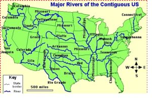 Blank outline map of the USA with major  rivers 2