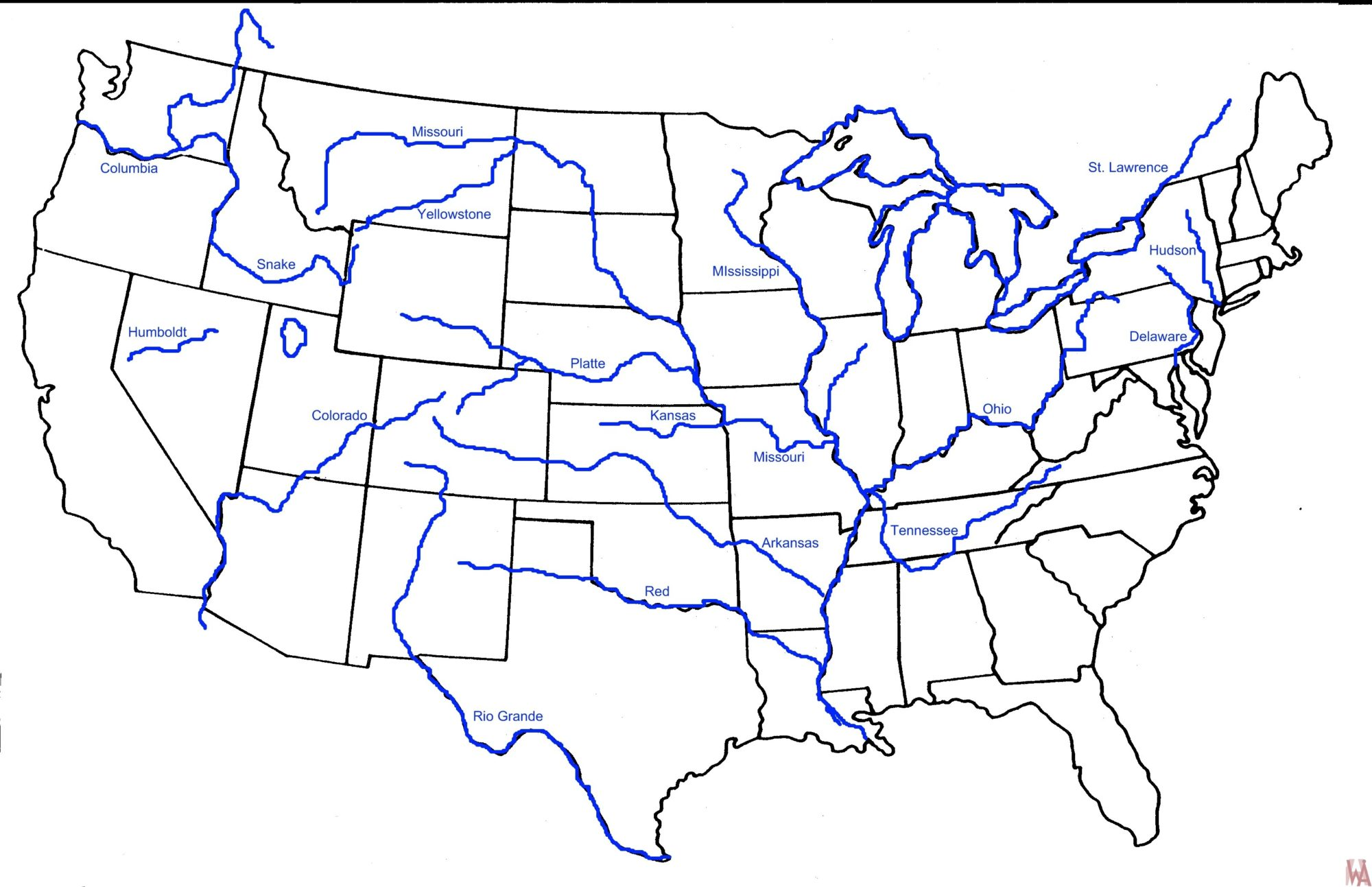 Blank outline map of the USA with major rivers 5 | WhatsAnswer