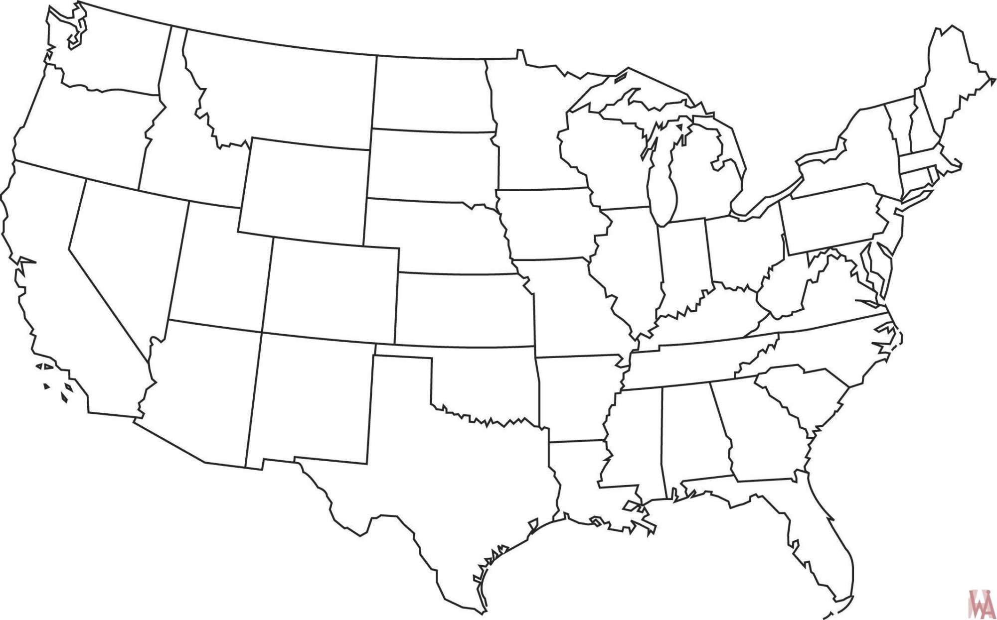 Picture of: Blank Outline Map Of The Usa Whatsanswer