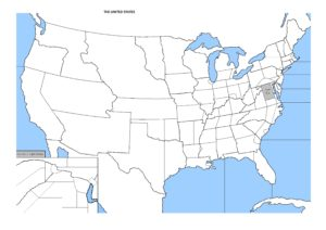 Blank outline map of the United States 16