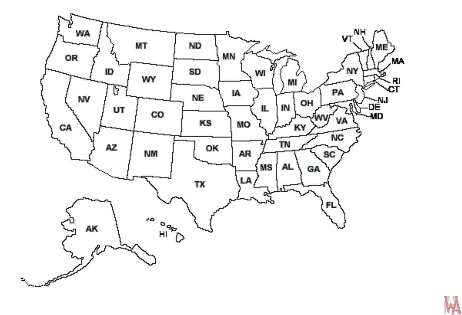 Image of: Blank Outline Map Of The United States Whatsanswer