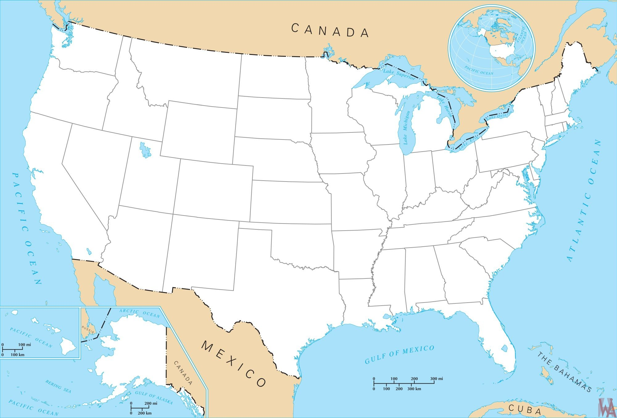 Map of the United States And Canada