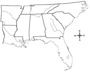 Google Interactive Regional Map Of USA WhatsAnswer - Blank Map Of The South Us Region