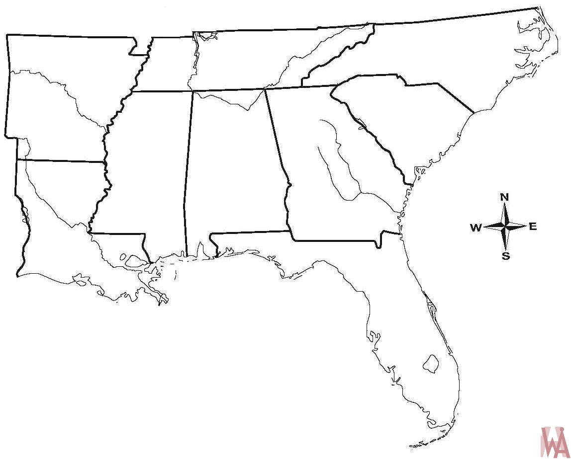 Blank Outline Map Of The Us South Region WhatsAnswer - Blank Map Of The South Us Region