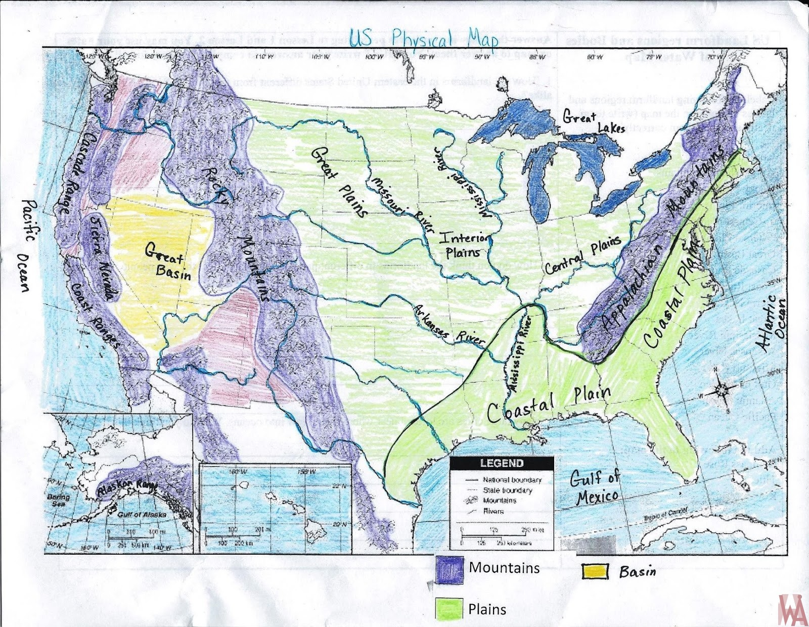 HandMade United States Rivers, Lakes, Water Flows, Mountain And Basin Map