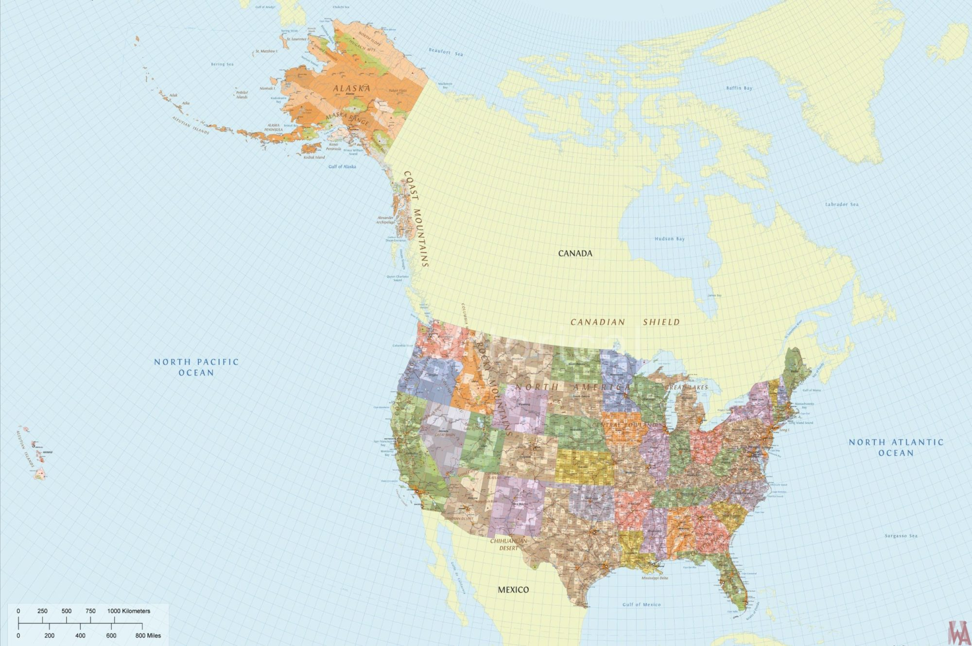 Geographical physical and political map of USA