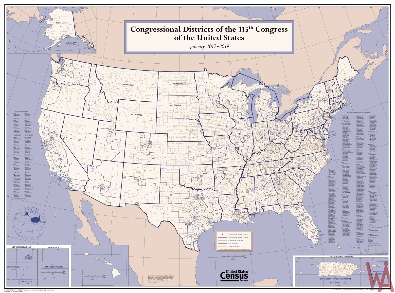 High Quality Congressional District Map of the US