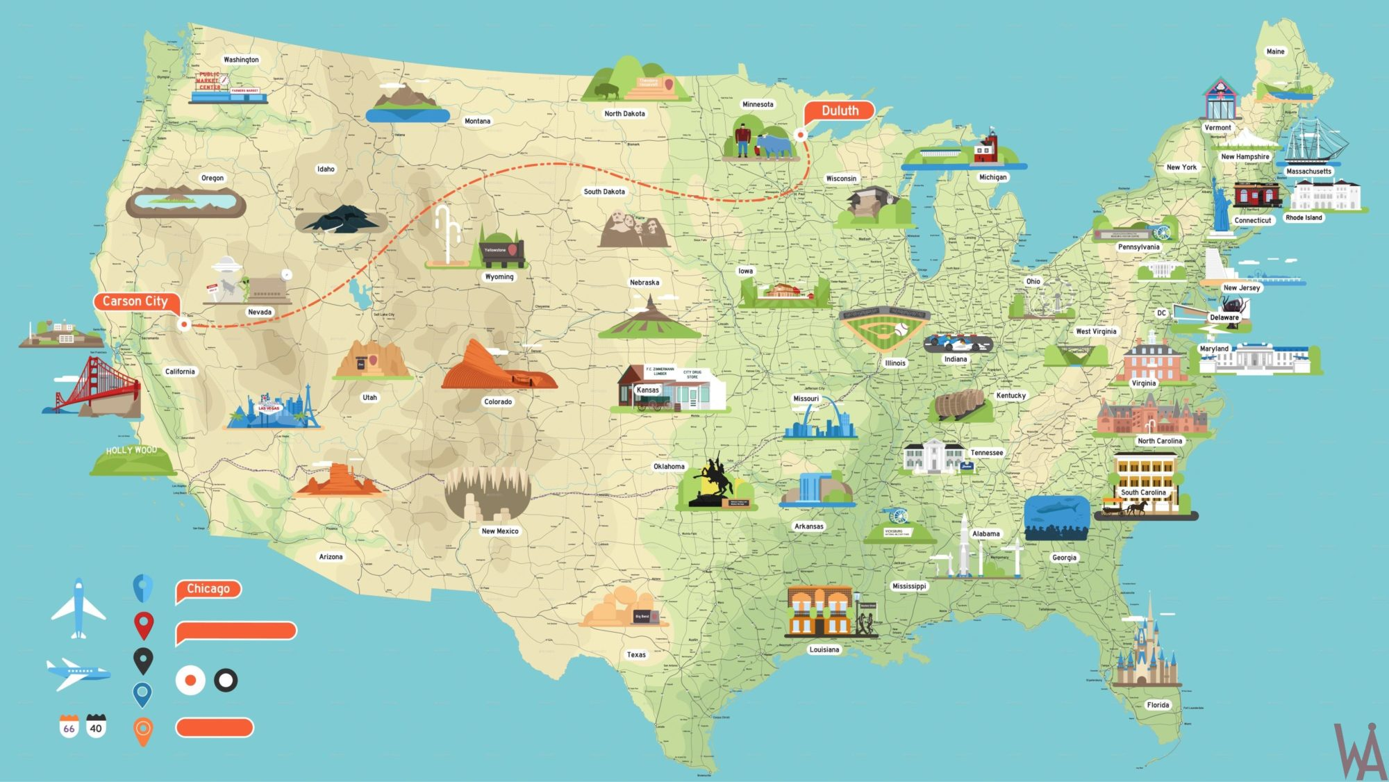 Tourist Attraction Map of the USA | USA Tourist Map