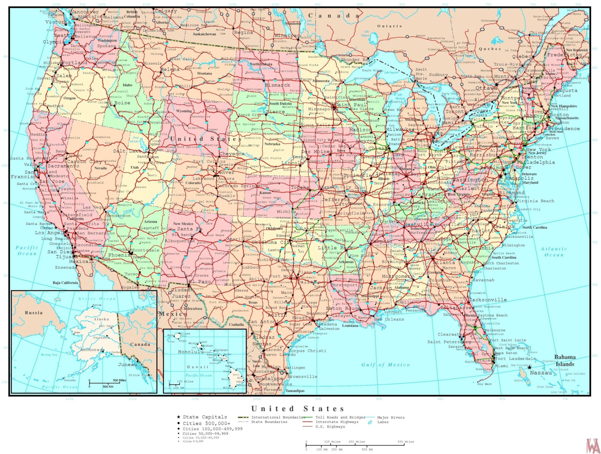 Highly usable Political  map of the United States