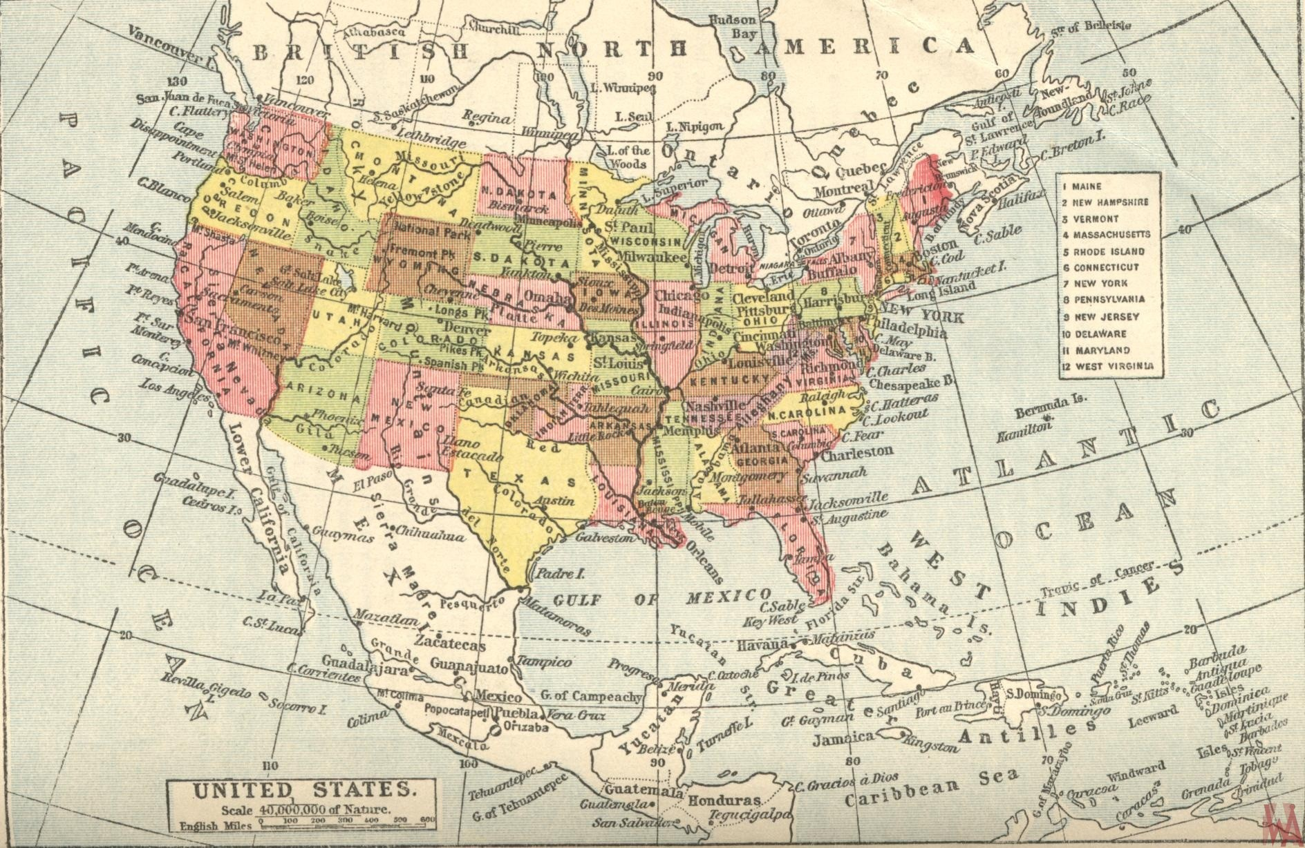 Historical map of the British United States | WhatsAnswer