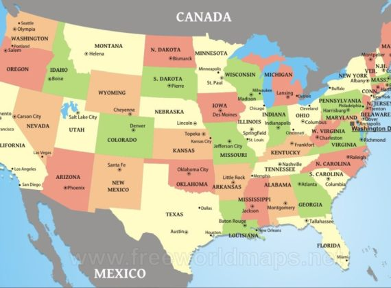Large political map of the USA WhatsAnswer