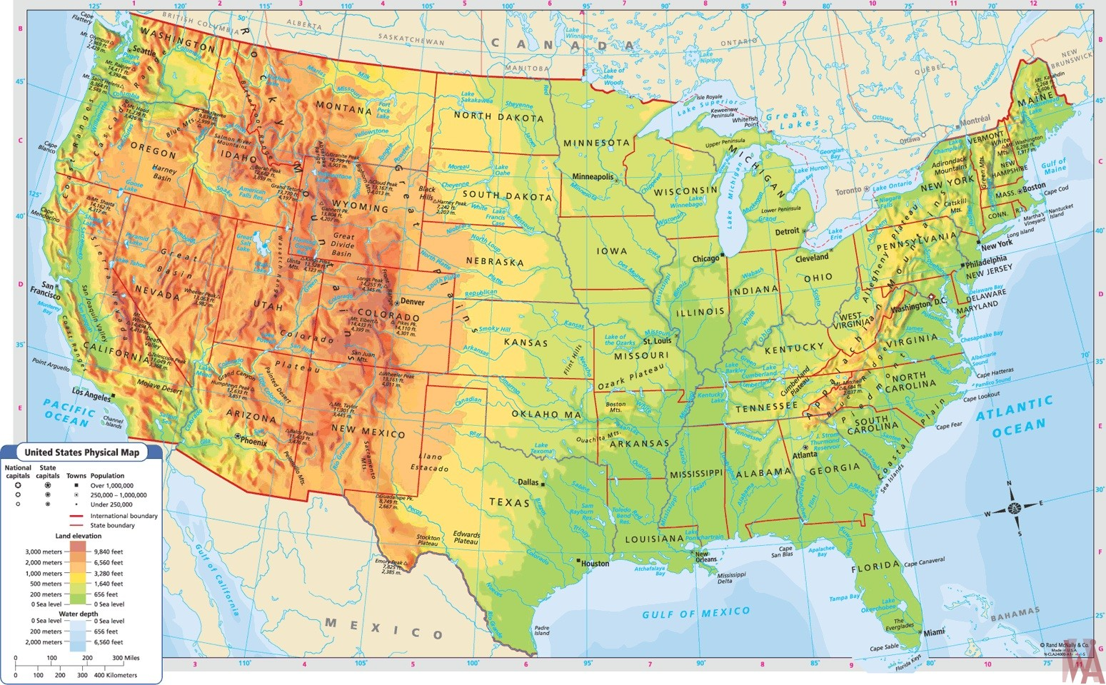 united states physical and political map Large Political Physical Geographical Map Of Usa Whatsanswer
