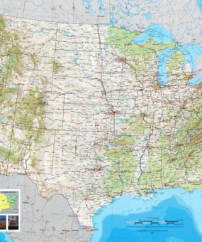 map size 285 x 340. map usa geographical physical map of the u s. a ...