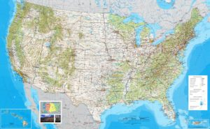 Large Political, Physical, Geographical Map of USA