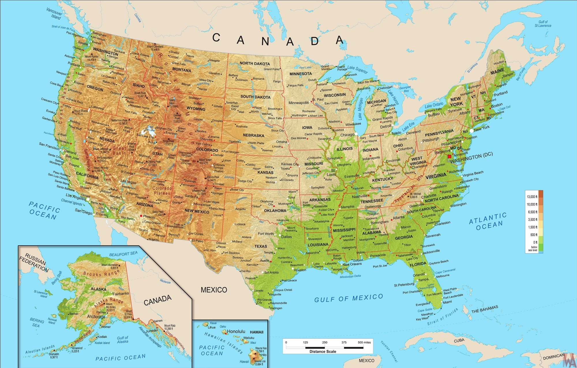Large Political physical geographical map of United States of