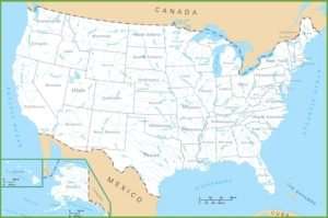 Large Rivers map of the United States 1