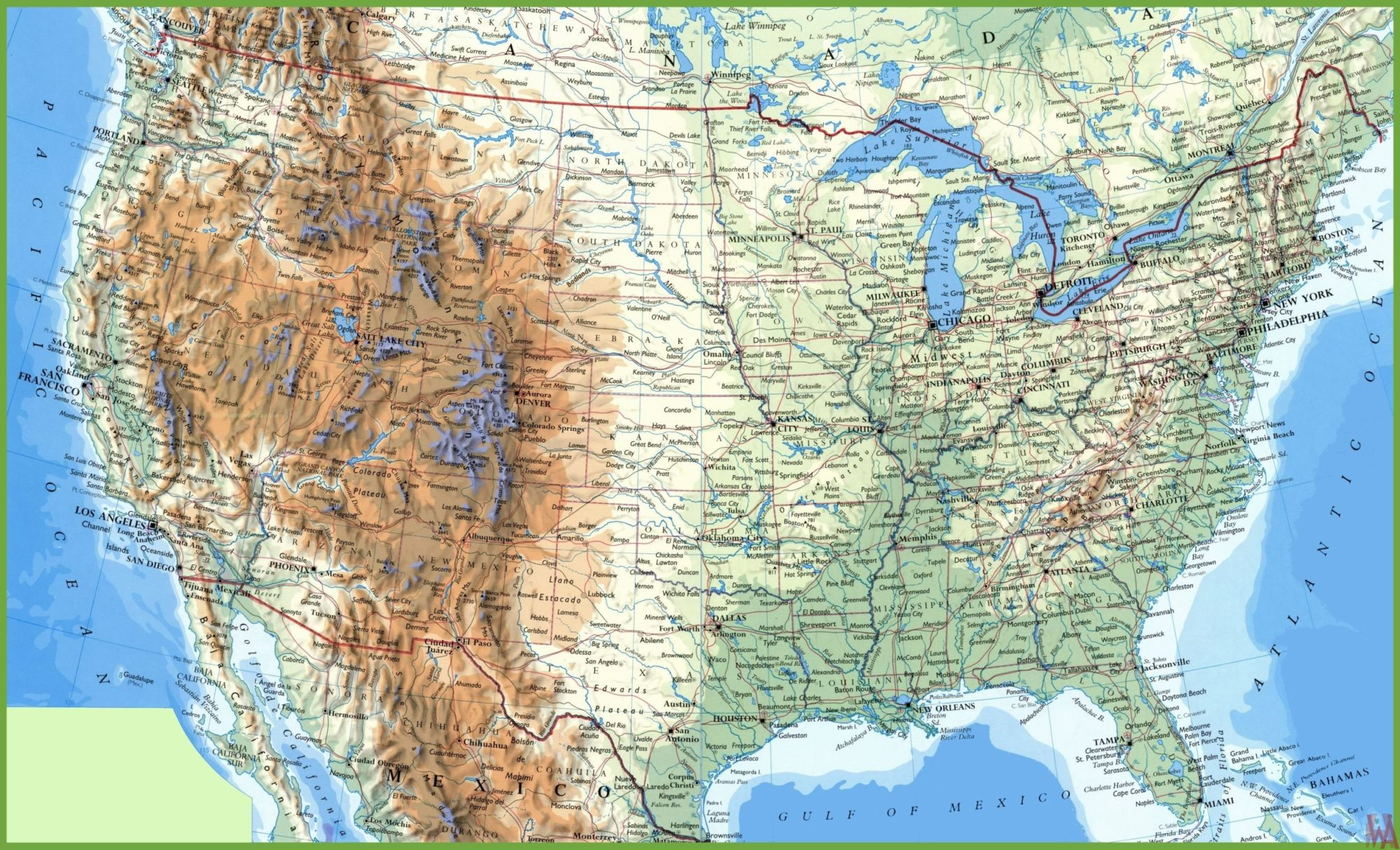 Large Attractive Political, Physical, Geographical Map of USA