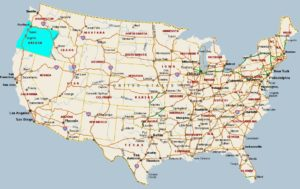 Large  attractive one color political map of the USA Indicate Oregon state