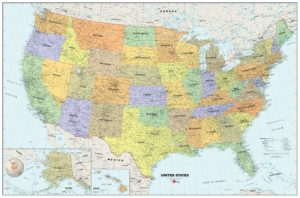 Large  attractive political map of the USA