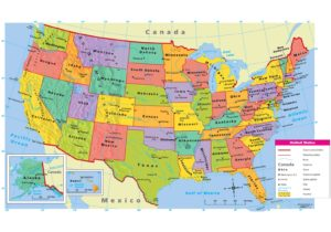 Large Attractive Political Map of the USA With Capital And Main Cities