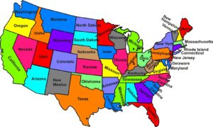 Large state wise political map of the USA