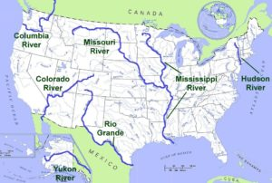 Major Rivers and Lake Map of the US