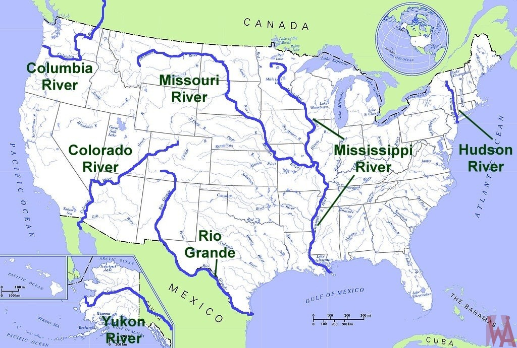 map of united states lakes Major Rivers And Lake Map Of The Usa 4 Whatsanswer map of united states lakes