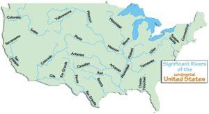 Major Rivers and lake Map of the USA 5