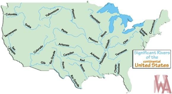 Major rivers and lake map of the usa 5 whatsanswer major rivers and lake map of the usa 5 sciox Gallery