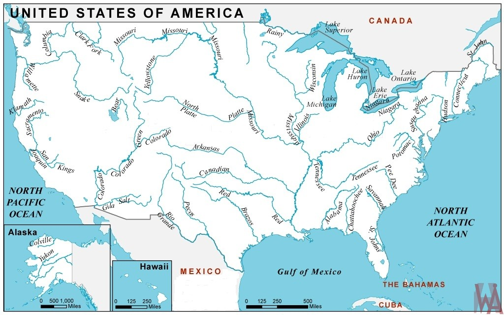 us map rivers and lakes Major Rivers And Lake Map Of The Usa Whatsanswer