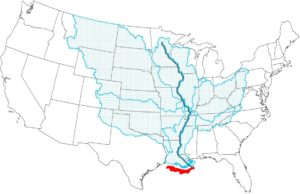 Mississippi river Coverage Map of the United States