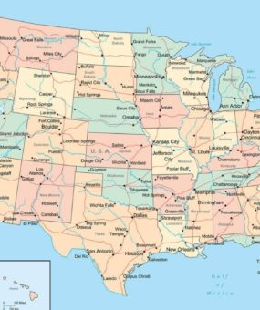 National Capital States CapitalMajor Cities Roads And Rivers - Map Of Us With Majoor Cities And Roads