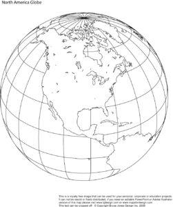 North America Blank Outline Globe Map