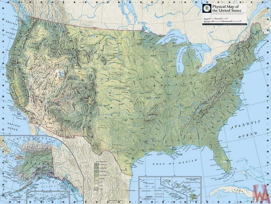Map of USA With Rivers And Mountains
