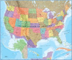 Political Wall map of the United States