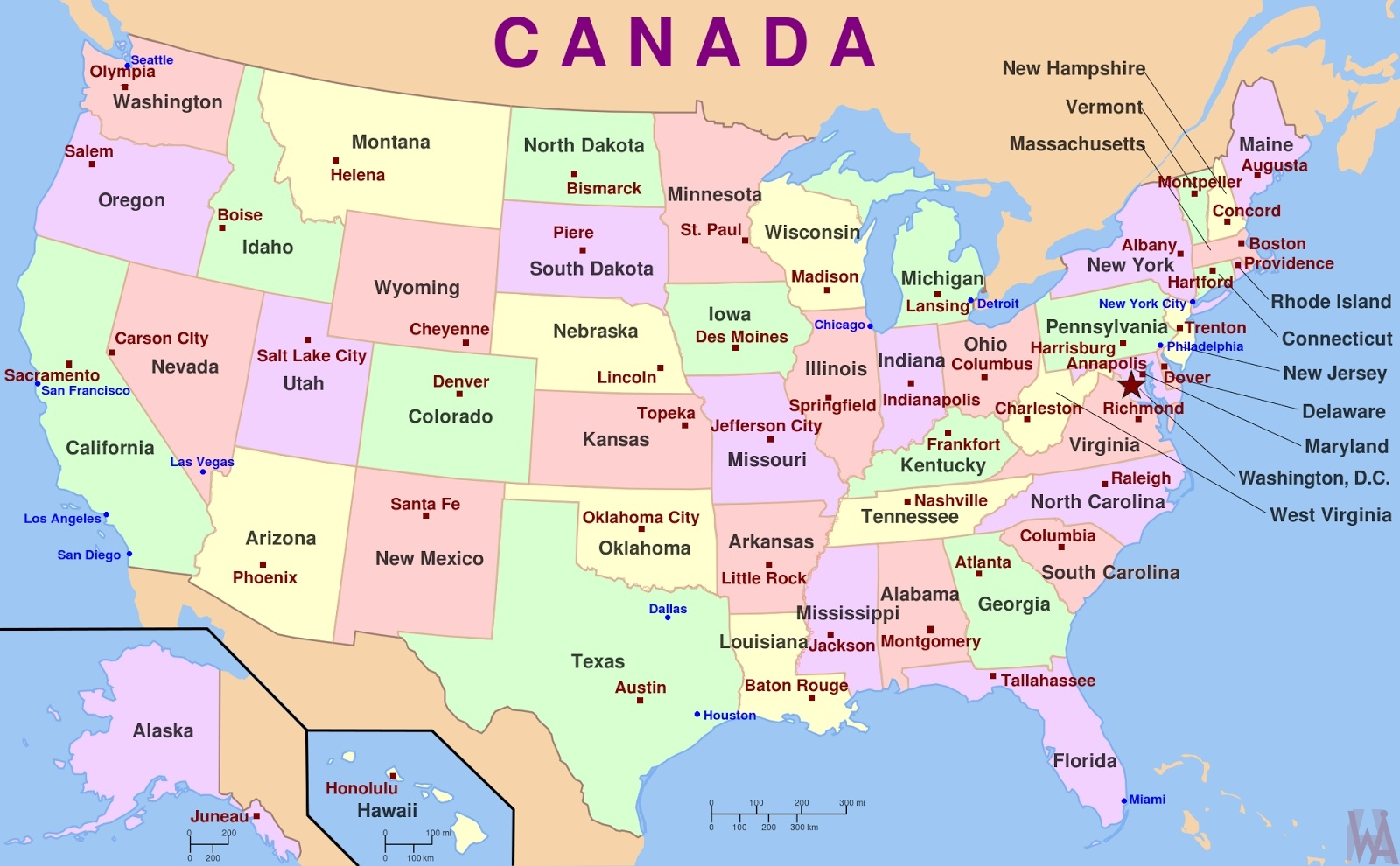 Picture of: States Map With Capital Of The Usa Whatsanswer