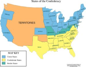 States of the Confederacy map of the USA