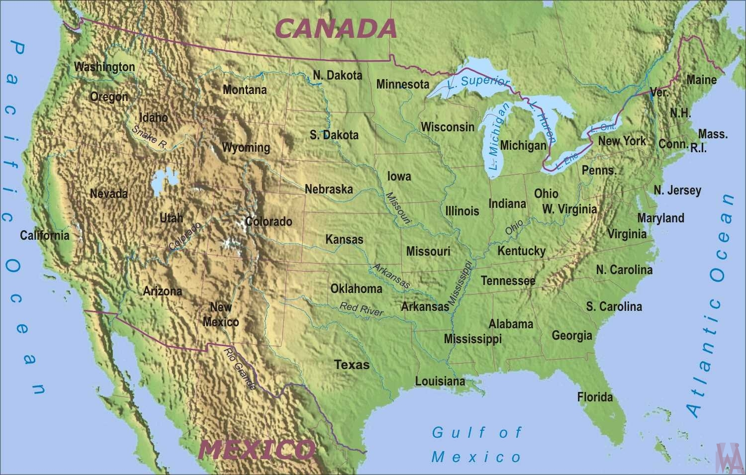 Picture of: The Map Of The Usa Geographical And Physical Whatsanswer