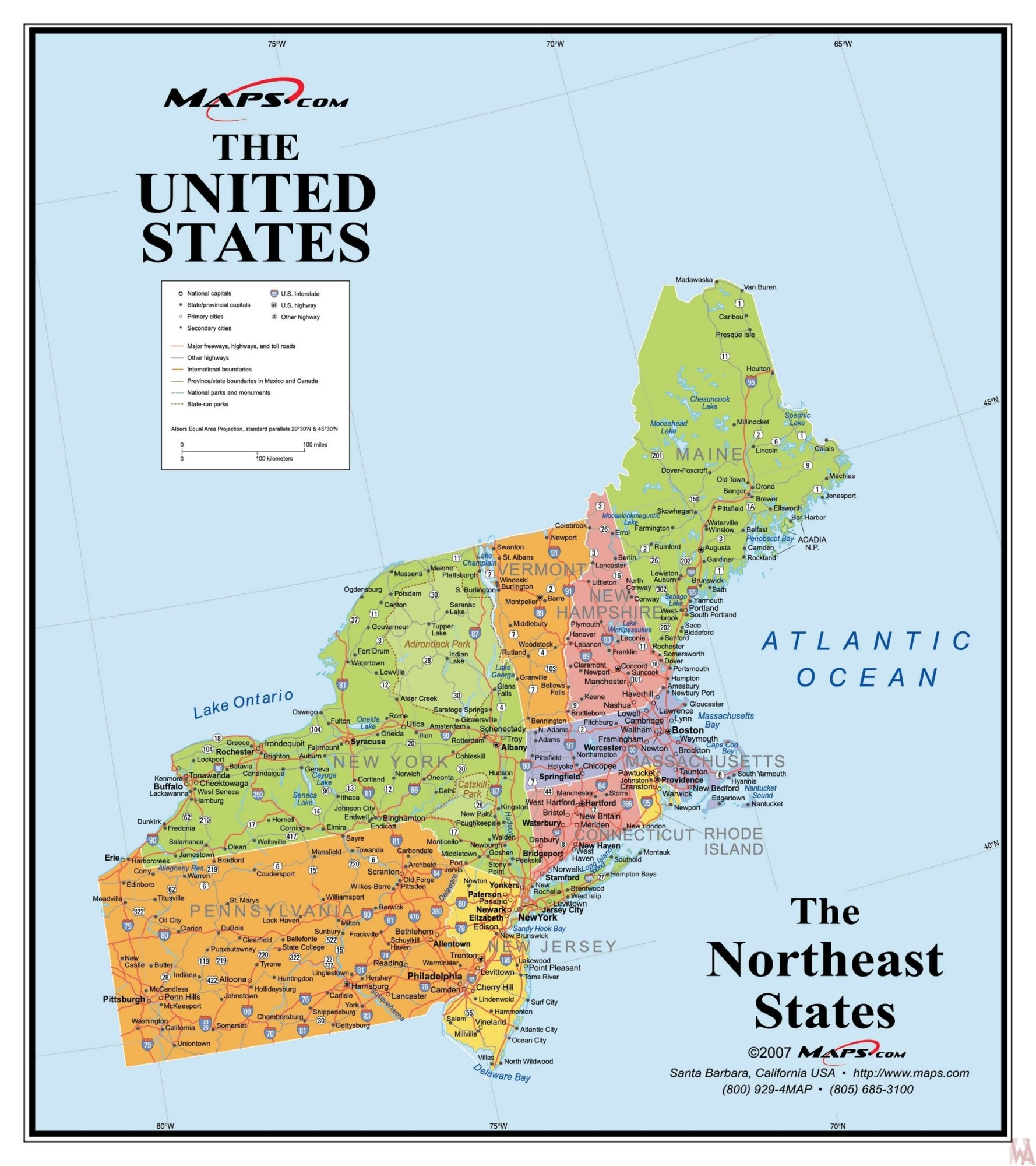 The Northeast Usa Map By Maps Com Whatsanswer